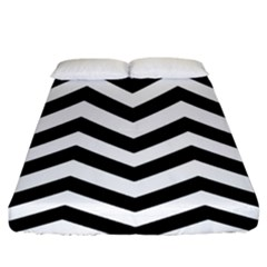 Black And White Chevron Fitted Sheet (King Size)