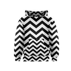 Black And White Chevron Kids  Pullover Hoodie
