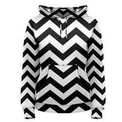 Black And White Chevron Women s Pullover Hoodie