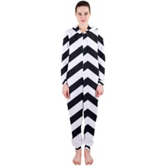 Black And White Chevron Hooded Jumpsuit (Ladies)