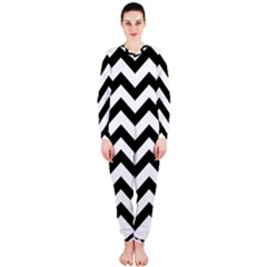 Black And White Chevron OnePiece Jumpsuit (Ladies)