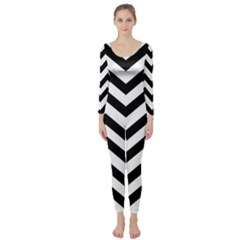 Black And White Chevron Long Sleeve Catsuit