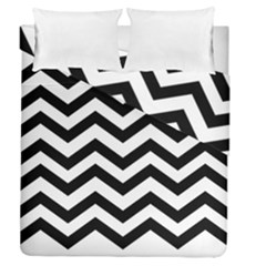Black And White Chevron Duvet Cover Double Side (Queen Size)