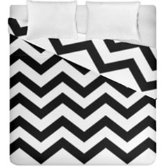 Black And White Chevron Duvet Cover Double Side (King Size)