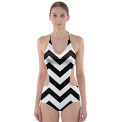 Black And White Chevron Cut-Out One Piece Swimsuit