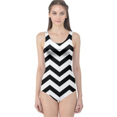 Black And White Chevron One Piece Swimsuit