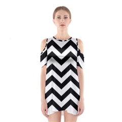 Black And White Chevron Shoulder Cutout One Piece