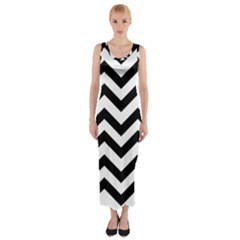 Black And White Chevron Fitted Maxi Dress