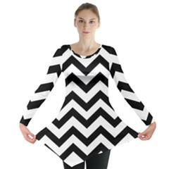 Black And White Chevron Long Sleeve Tunic