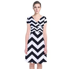 Black And White Chevron Short Sleeve Front Wrap Dress