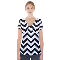 Black And White Chevron Short Sleeve Front Detail Top