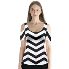 Black And White Chevron Butterfly Sleeve Cutout Tee