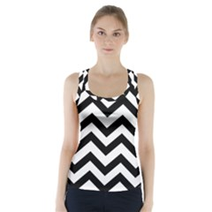 Black And White Chevron Racer Back Sports Top