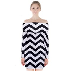 Black And White Chevron Long Sleeve Off Shoulder Dress