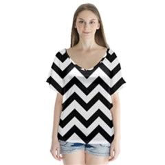 Black And White Chevron Flutter Sleeve Top