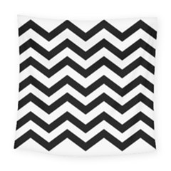 Black And White Chevron Square Tapestry (Large)