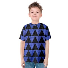 Triangle2 Black Marble & Blue Brushed Metal Kids  Cotton Tee by trendistuff
