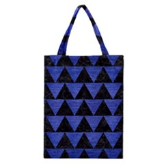 Triangle2 Black Marble & Blue Brushed Metal Classic Tote Bag by trendistuff
