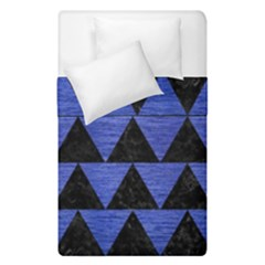 Triangle2 Black Marble & Blue Brushed Metal Duvet Cover Double Side (single Size) by trendistuff
