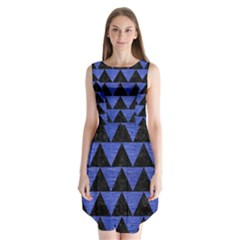 Triangle2 Black Marble & Blue Brushed Metal Sleeveless Chiffon Dress   by trendistuff