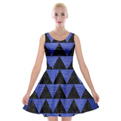 Triangle2 Black Marble & Blue Brushed Metal Velvet Skater Dress by trendistuff