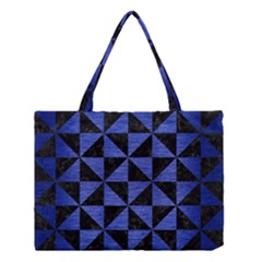 Triangle1 Black Marble & Blue Brushed Metal Medium Tote Bag by trendistuff