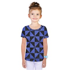 Triangle1 Black Marble & Blue Brushed Metal Kids  One Piece Tee by trendistuff