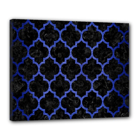 Tile1 Black Marble & Blue Brushed Metal Canvas 20  X 16  (stretched) by trendistuff