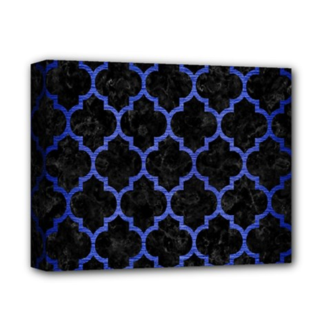 Tile1 Black Marble & Blue Brushed Metal Deluxe Canvas 14  X 11  (stretched) by trendistuff