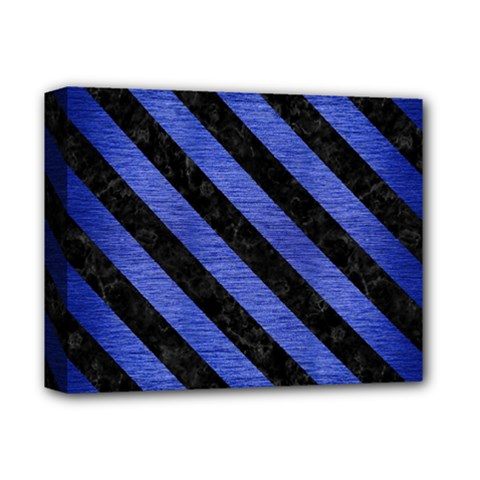 Stripes3 Black Marble & Blue Brushed Metal (r) Deluxe Canvas 14  X 11  (stretched) by trendistuff