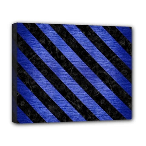 Stripes3 Black Marble & Blue Brushed Metal (r) Deluxe Canvas 20  X 16  (stretched) by trendistuff