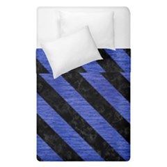 Stripes3 Black Marble & Blue Brushed Metal (r) Duvet Cover Double Side (single Size) by trendistuff