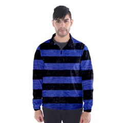 Stripes2 Black Marble & Blue Brushed Metal Wind Breaker (men) by trendistuff
