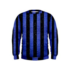 Stripes1 Black Marble & Blue Brushed Metal Kids  Sweatshirt by trendistuff