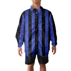 Stripes1 Black Marble & Blue Brushed Metal Wind Breaker (kids) by trendistuff