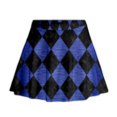 Square2 Black Marble & Blue Brushed Metal Mini Flare Skirt