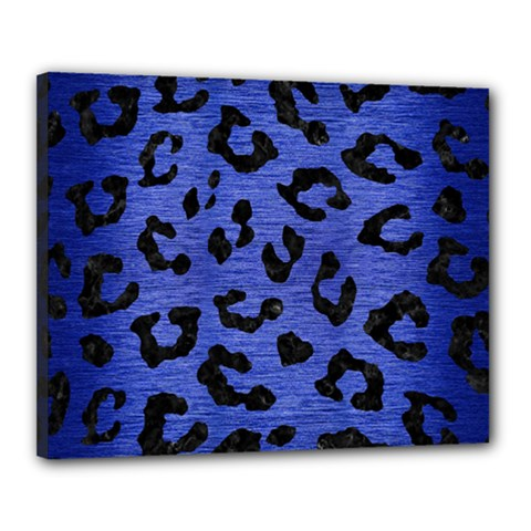 Skin5 Black Marble & Blue Brushed Metal Canvas 20  X 16  (stretched) by trendistuff