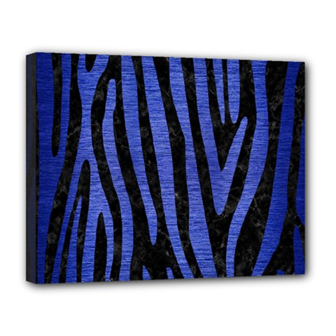 Skin4 Black Marble & Blue Brushed Metal (r) Canvas 14  X 11  (stretched) by trendistuff