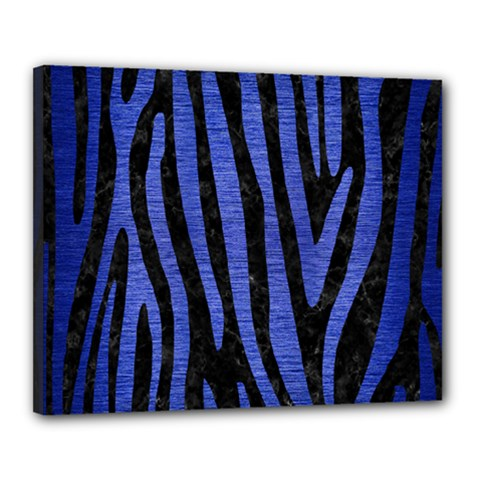 Skin4 Black Marble & Blue Brushed Metal (r) Canvas 20  X 16  (stretched) by trendistuff