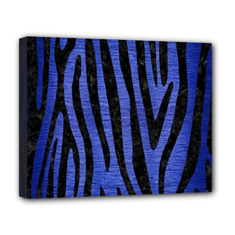 Skin4 Black Marble & Blue Brushed Metal Deluxe Canvas 20  X 16  (stretched) by trendistuff