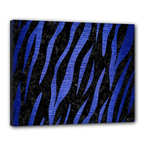 Skin3 Black Marble & Blue Brushed Metal Canvas 20  X 16  (stretched) by trendistuff