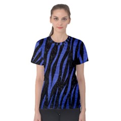 Skin3 Black Marble & Blue Brushed Metal Women s Cotton Tee by trendistuff