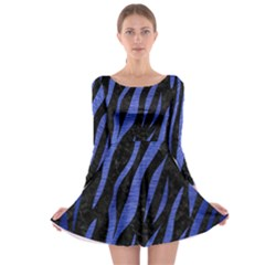 Skin3 Black Marble & Blue Brushed Metal Long Sleeve Skater Dress by trendistuff
