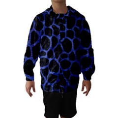 Skin1 Black Marble & Blue Brushed Metal (r) Hooded Wind Breaker (kids) by trendistuff