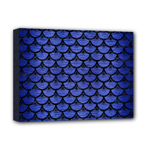 Scales3 Black Marble & Blue Brushed Metal (r) Deluxe Canvas 16  X 12  (stretched)  by trendistuff
