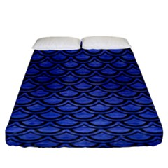 Scales2 Black Marble & Blue Brushed Metal (r) Fitted Sheet (king Size) by trendistuff