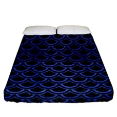 Scales2 Black Marble & Blue Brushed Metal Fitted Sheet (queen Size) by trendistuff