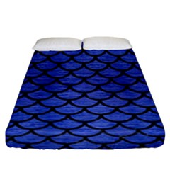 Scales1 Black Marble & Blue Brushed Metal (r) Fitted Sheet (king Size) by trendistuff