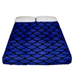 Scales1 Black Marble & Blue Brushed Metal (r) Fitted Sheet (california King Size) by trendistuff