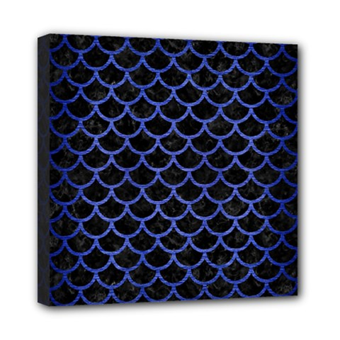 Scales1 Black Marble & Blue Brushed Metal Mini Canvas 8  X 8  (stretched) by trendistuff